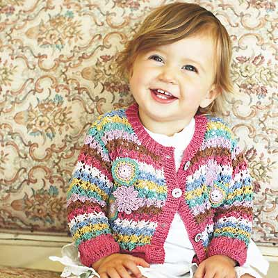 Knit A Girl S Crochet Trimmed Cardigan Free Knitting Patterns