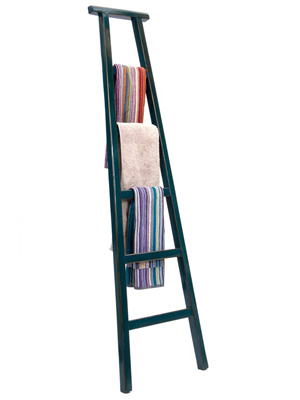 lacquered wooden chinese ladder in teal from orchid furniture bathroom storage ideas homes