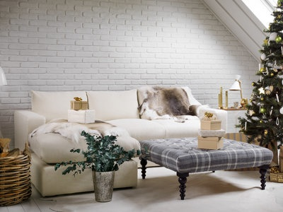 Cream Corner Sofa In Living With Christmas Tree Home Decor Ideas Allaboutyou
