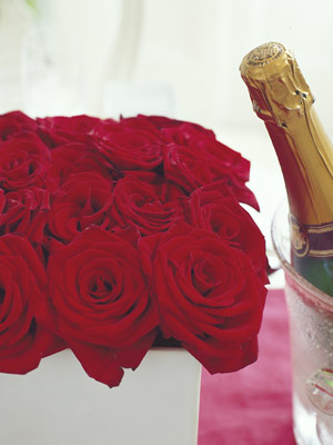 red roses and champagne