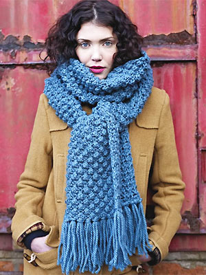 Knit A Bobbly Textured Scarf Free Knitting Pattern Scarf