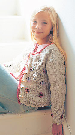 Knit A Girl S Bobble Cardigan Free Knitting Patterns For Children