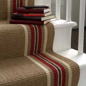Beige Hall Stair Carpet With Coloured Stripes At Edge   Hallway Carpets    Homes And UK