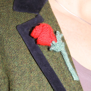 Knitted rose brooch, a free knitting pattern from allaboutyou.com