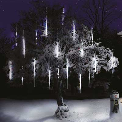 snow shower icicle outdoor christmas lights for trees and houses christmas decorations ideas home - Cheap Outdoor Christmas Decorations Uk