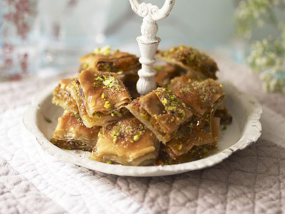 Baklava with figs and pistachios