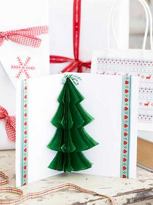 Make A Tissue Paper Christmas Tree Card