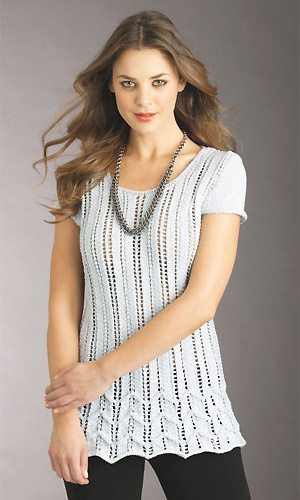 knit lacy chevron short-sleeved top