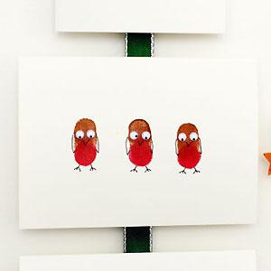 Make A Thumbprint Robin Christmas Card Christmas Craft Ideas