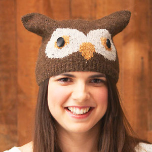 PR owl hat to knit, from 'Animal Hats'