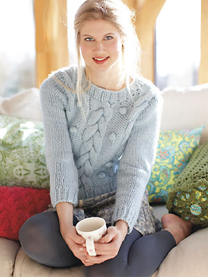 Knit A Cabled Plait And Bobble Sweater Free Knitting Pattern